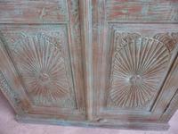 Handmade Indian Mango & Teak Large Painted Green 2 Door Storage Cupboard (9 of 12)