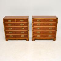 Pair of Yew Wood Military Campaign Style Chests (2 of 14)