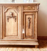 French Antique Oak Sideboard / Cupboard / Cabinet with Arabescato Marble (7 of 10)