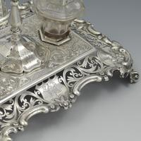 Antique Victorian Silver Double Inkstand With Taperstick & Stamp Box (7 of 15)