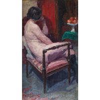 Oswald Poreau, Seated Nude In Leather Boots, Oil Painting (2 of 8)