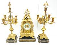 Superb Antique French Ormolu Mantel Candelabra Clock Set Embossed Decoration Finial 8 Day Striking (8 of 15)