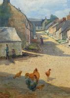 Large Original Edwardian Antique Yorkshire Hamlet Landscape Watercolour Painting (5 of 13)