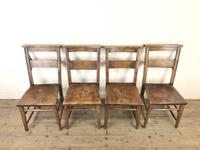 Set of Four Victorian Elm Chapel Chairs (2 of 8)
