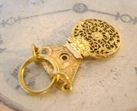 Georgian Pocket Watch Chain Fob 1830s Antique Brass Verge Balance Cock Fob (3 of 10)