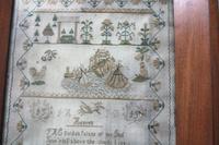 Rare & Fine Embroidery Silk Textile Scottish Castle Sampler c.1841 (5 of 9)