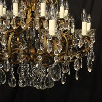 Italian Gilt & Crystal 21 Light Antique Chandelier (5 of 10)