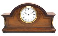 Fine Edwardian Mahogany Arched Clock Multi Wood Inlay Timepiece Mantel Clock (2 of 9)