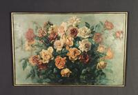 Signed Early 20th Century Large French Oil on Canvas Bouquet of Roses (8 of 8)