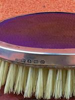 Antique Sterling Silver Hallmarked Purple Brush in Leather Case , 1928 , Birmingham, Daniel Manufacturing Company (4 of 6)