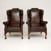 Pair of  Antique  Leather Wing Back Armchairs (11 of 11)