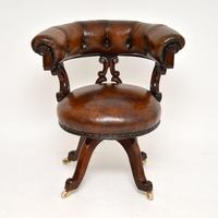 Antique William IV Leather & Mahogany Desk Chair (2 of 8)