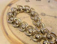 Antique Pocket Watch Chain 1920s Large Silver Nickel Fancy Link Albert With T Bar (5 of 10)