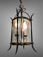 Pair of Vintage French Convex Lanterns Hall Lights Porch Pendants (2 of 6)