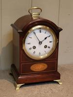 Small Mahogany & Inlay Mantel Clock (2 of 12)