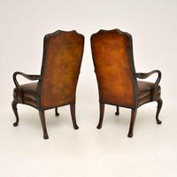 Pair of Georgian Style Leather & Mahogany Armchairs c.1930 (10 of 11)