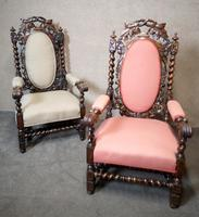 Pair of Victorian Jacobean Style Carved Oak Armchairs (10 of 12)
