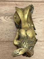 Art Deco French Signed Gilt Bronze 2 Female Nude Mermaids Swimming Statue c.1930 (11 of 41)