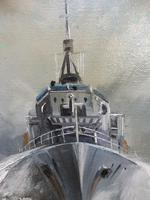 Oil on Board The Battle Ship Listed Artist Dion Pears (5 of 12)