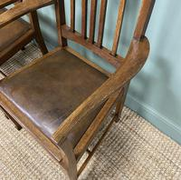 Unusual Pair of Edwardian Oak Carver Chairs by JAS. Shoolbred (4 of 8)