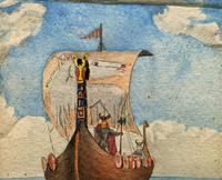 Unusual Original 19thc Seascape watercolour Painting - 11thc Vikings & Longboat (4 of 11)