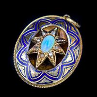 Antique Blue Enamel Opal and Diamond Star 15ct Gold Oval Locket Pendant (5 of 11)
