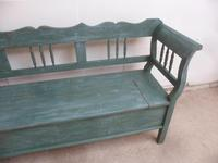 Lovely Green & Blue 3 Seater Antique Pine Kitchen / Hall Box Settle / Bench (3 of 10)