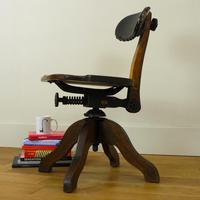 Early 20th Century Industrial Swivel Oak Work Chair (15 of 16)