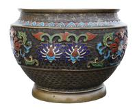 Chinese bronze cloisonne planter bowl Late 19th Century (5 of 7)