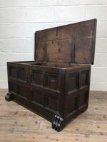 Antique Rare 17th Century Oak Coffer with Block Paw Feet (M-716) (3 of 16)