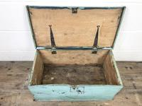 Antique Green Painted Wooden Trunk or Box (4 of 10)