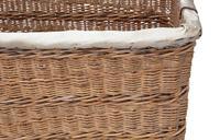 Vintage large strong cane and pig skin log or storage basket (4 of 8)