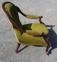 1900's Mahogany Open Arm Nursing Chair in Green (2 of 3)