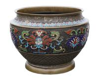 Chinese bronze cloisonne planter bowl Late 19th Century (4 of 7)