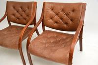 Pair of Scandinavian Bentwood & Leather Vintage Armchairs (5 of 14)