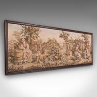 Antique 5' Panoramic Tapestry, French, Needlepoint, Display Panel, Edwardian