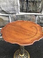 Antique Ornate Walnut & Brass Wine Table (4 of 5)