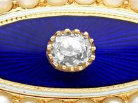 0.29ct Diamond, Seed Pearl & Enamel, 15ct Yellow Gold Brooch - Antique Victorian (3 of 9)