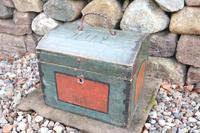 Scandinavian / Swedish 'Folk Art' Small blue-black orginal paint, Hälsingland table chest box 1814 (24 of 25)