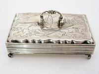 Antique Dutch Silver Jewellery Box Engraved with Farm Scenes (2 of 6)