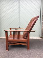 Arts & Crafts Oak & Leather Reclining Armchair (7 of 10)