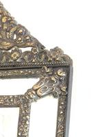 Dutch Repousse Brass Cushion Framed Mirror with Arched Crest (2 of 12)