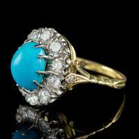 Antique Edwardian Turquoise Diamond Cluster Ring Platinum 18ct Gold 2ct of Diamond c.1905 (7 of 8)