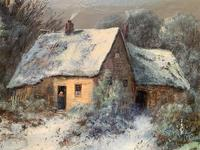 Very Large Outstanding 19th Century British Winter Snow-capped Landscape Oil Painting (10 of 13)