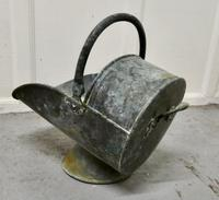Large Arts and Crafts Shabby (verdigris) Copper Helmet Coal Scuttle (4 of 4)