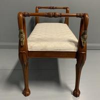 French mahogany and brass Swan neck piano stool (6 of 6)