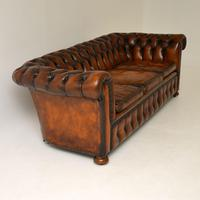 Antique Victorian Style Deep Buttoned Leather Chesterfield Sofa (6 of 8)