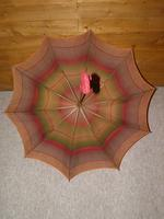 Antique Red / Orange Patterned Canopy Umbrella W/Red Velvet Handle & Canopy Cover (10 of 14)