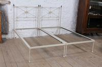Simple Pair of Single Victorian Iron & Brass no End Beds - Can be Joined (7 of 8)