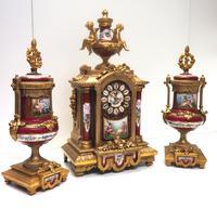 Incredible French Sevres Mantel Clock French Striking 8-day Garniture Clock Set (13 of 19)